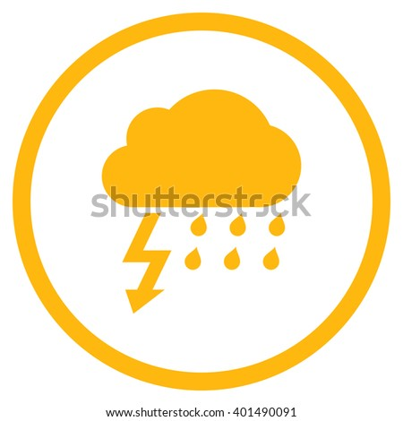 Thunderstorm vector icon. Image style is a flat icon symbol inside a circle, yellow color, white background. - stock vector