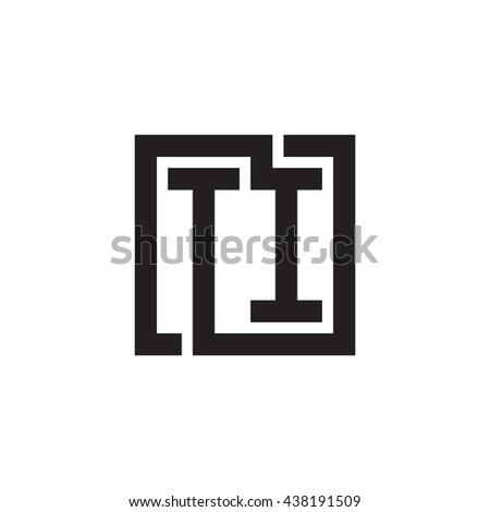 TI initial letters looping linked square monogram logo