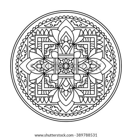 Tibet Ethnic Mandalas Elements Outline Drawing Stock Vector ...