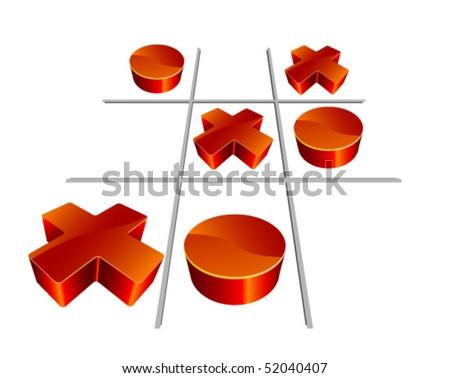 Tic Tac Toe . 3D  illustration - stock vector