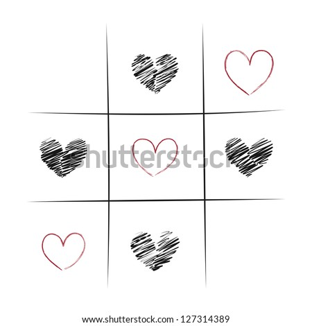 Tic-Tac-Toe Game With Hearts Illustration - stock vector