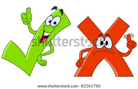 Tick and cross cartoon - stock vector
