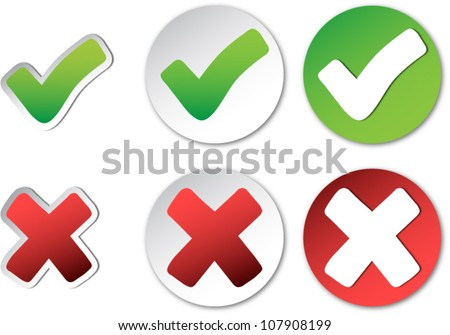Tick and cross. Check mark vector stickers. - stock vector
