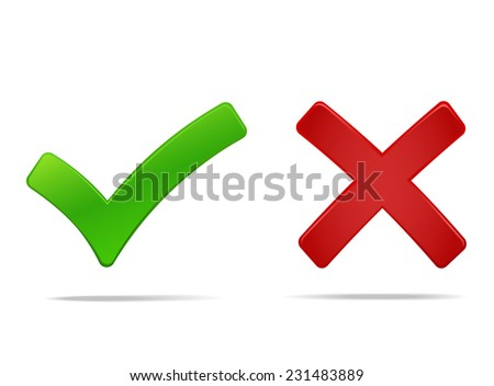 Tick and cross icons, yes no symbols green an red. Vector illustration of check mark, you can easily change the color and size - stock vector
