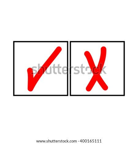Tick and cross sign in white square isolated on white background.