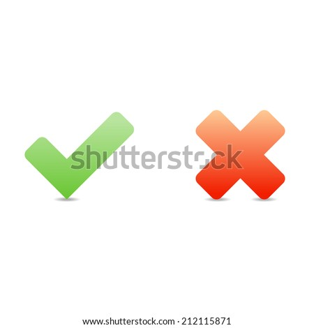 Tick and Cross Sign Vector - stock vector