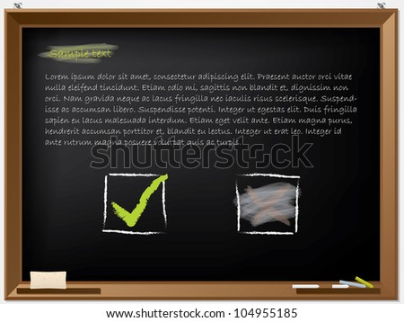 Tick and wiped cross on blackboard with text - stock vector