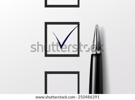 Tick box with pen - stock vector
