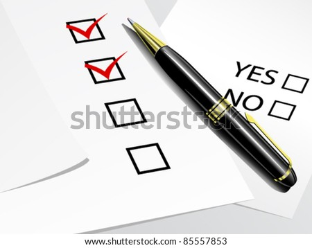 Tick boxes with pencil - stock vector