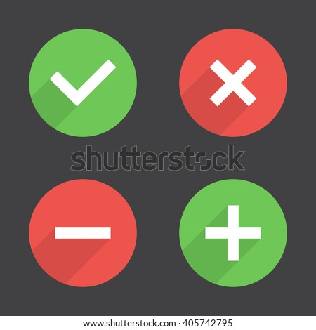 Tick, cross, plus, minus icon set