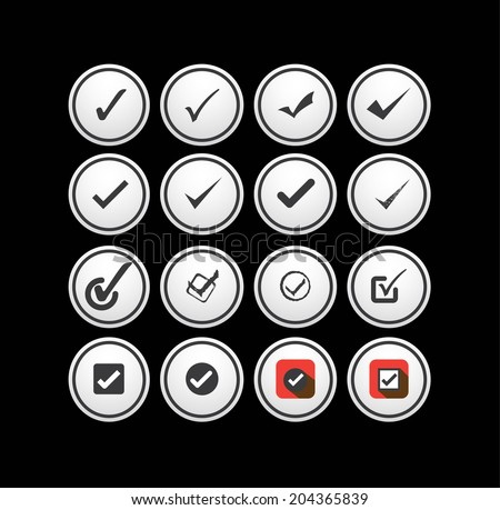 tick mark, check, approval vector icons collection set. This graphic can also represent right choice, correct selection, true option, positive answer, saying yes, acceptance, confirmation, etc  - stock vector