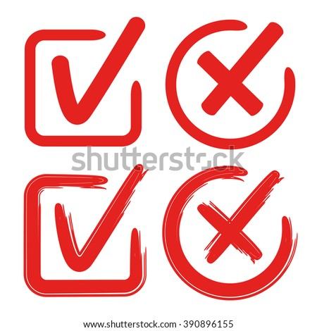 tick mark, check mark, wrong mark, approve mark - stock vector