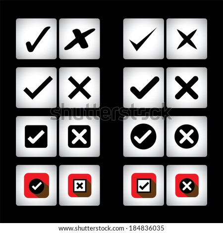 tick mark & cross sign vector icons set on black background. This graphic can also represent selection options of right, wrong, also valid, invalid, true false, correct, incorrect, yes, no - stock vector