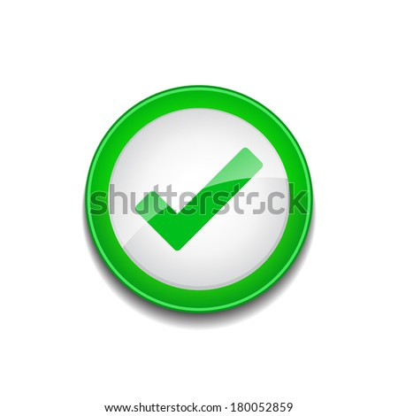 Tick Mark Sign Circular Green Vector Web Button Icon