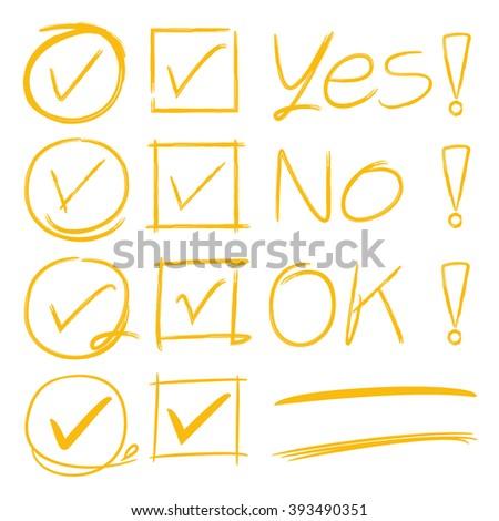 tick marks, brush underline, yes no symbol - stock vector