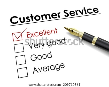 tick placed in excellent check box with fountain pen over customer service - stock vector