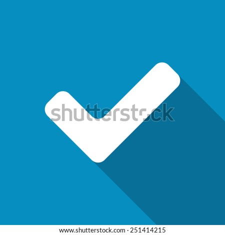 Tick sign. Accept icon. Confirm button, vector illustration. Modern design flat style icon with long shadow effect - stock vector