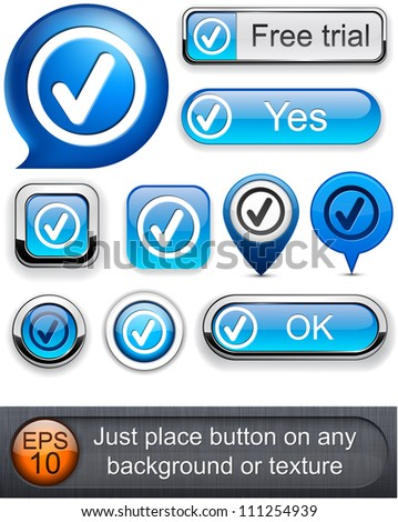 Tick web blue buttons for website or app. Vector eps10.