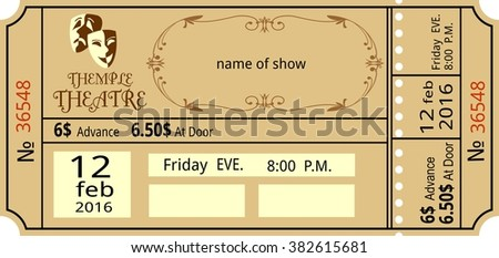 ticke theatre vintage show opera concert ballet coupon, invitation, - stock vector