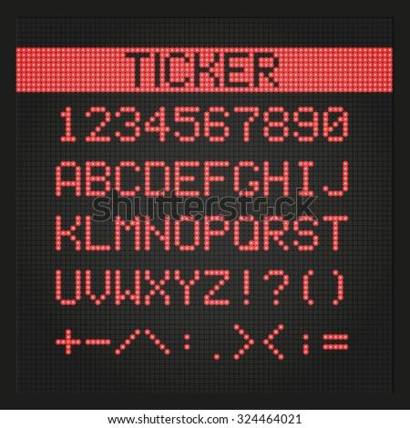 Ticker board digital font - stock vector