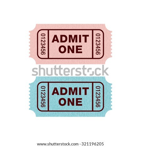 Ticket Admit One, blue and pink, Vector illustration
