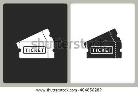 Ticket   -  black and white icons. Vector illustration.  - stock vector