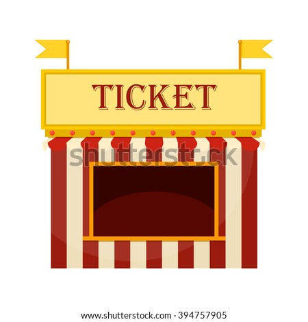 Ticket cart or booth in carnival festival vintage and retro style with seller character design. Ticket sellers shop vector illustration. Ticket cart or booth fun entertainment carnival amusement movie - stock vector