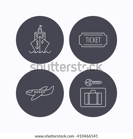 Ticket, cruise ship and airplane icons. Luggage security linear sign. Flat icons in circle buttons on white background. Vector - stock vector