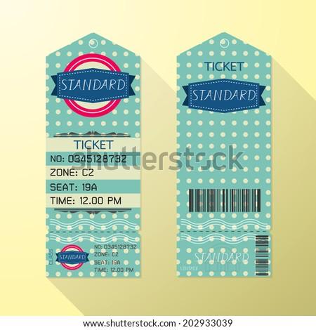 Ticket Design Template Retro Style. Standard Class
