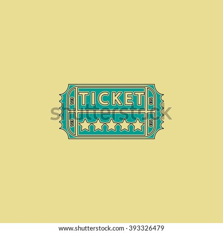 Ticket Flat line icon on yellow background. Vector pictogram with stroke