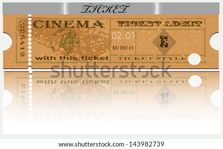 Ticket for cinema - representation. Mother Earth.Vector image of a template for tickets. EPS10 - stock vector