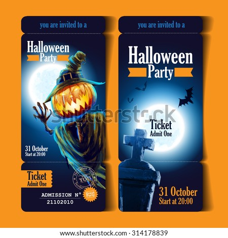 ticket halloween party - stock vector