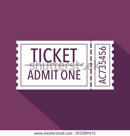 Ticket icon. Flat design. Vector illustration - stock vector