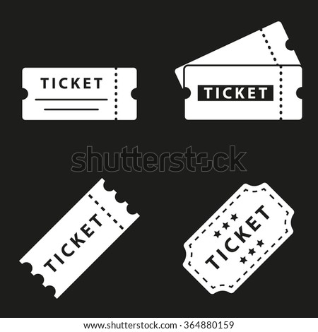 Ticket  icon  on black background. Vector illustration. - stock vector
