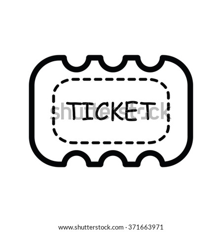 Ticket icon on white background  line style - stock vector