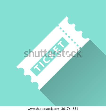 Ticket  icon with long shadow, flat design. Vector illustration. - stock vector