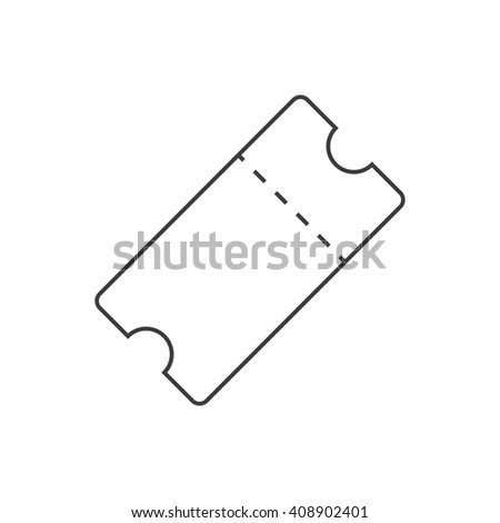 Ticket line art. Outline ticket icon. Black and white ticket icon isolated on white background - stock vector