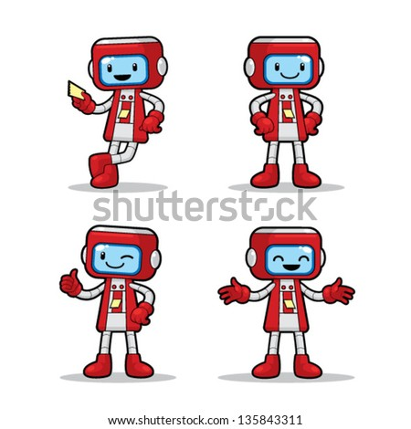 Ticket Machine Robot 4 different poses of ticket machine robot. Vector EPS8 file. - stock vector