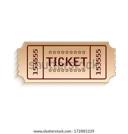 ticket out of cardboard on white background.vector