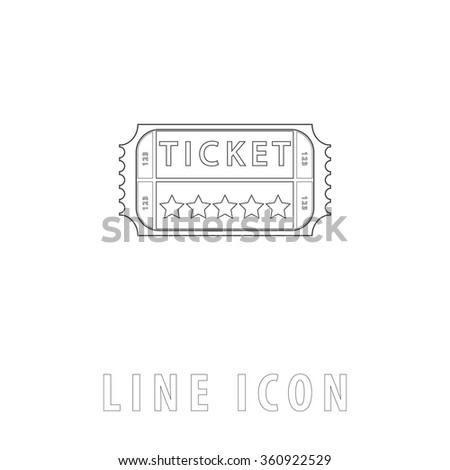Ticket Outline simple vector icon on white background. Line pictogram with text