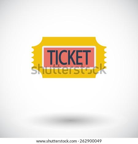 Ticket. Single flat icon on white background. Vector illustration. - stock vector