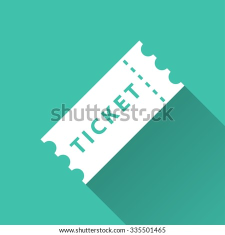 Ticket  - vector icon in white on a green background. - stock vector