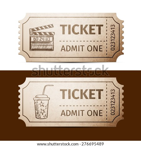 tickets doodle drawing, excellent vector illustration, EPS 10 - stock vector