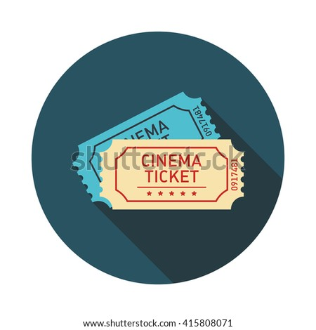 Tickets icon. Flat design. Vector illustration with long shadow