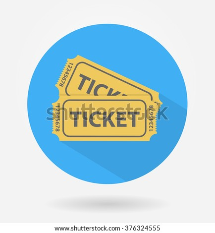 Tickets icon with long shadow. Flat design
