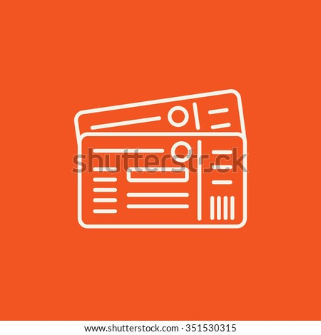 Tickets line icon for web, mobile and infographics. Vector white icon isolated on red background. - stock vector