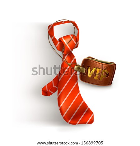 Tie and badge icon - stock vector