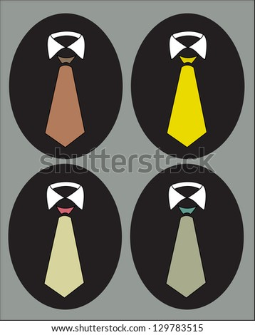 tie collection set - stock vector