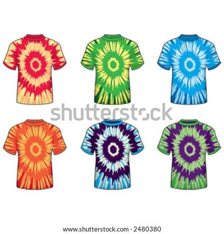 Tie Dye T-shirts - stock vector