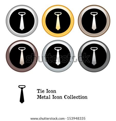 Tie Icon Metal Icon Set - stock vector